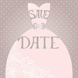Invito di nozze con il bello vestito da sposa elegante illustrazione vettoriale
