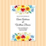 Invito di nozze con l'acquerello floreale illustrazione di stock