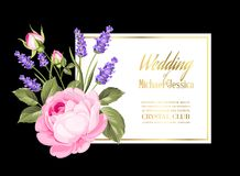 Invito di nozze dell'oro Fotografie Stock