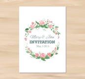 Invito di nozze di vettore con i fiori dell'acquerello illustrazione vettoriale
