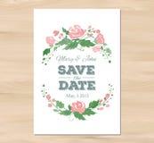 Invito di nozze di vettore con i fiori dell'acquerello Fotografie Stock Libere da Diritti