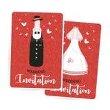 Invito di nozze, persone appena sposate, sposa e sposo, una bottiglia di champagne, modello di progettazione di cartellino rosso, Immagine Stock