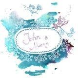 Invito di nozze su un fondo blu dell'acquerello Fotografia Stock