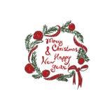Invito di nuovo anno Corona di natale Natale Fotografia Stock