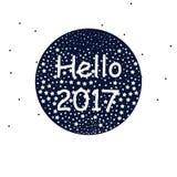 Invito di nuovo anno Illustrazione astratta di saluto con le stelle bianche Fotografia Stock