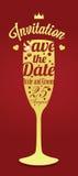 Invito di vetro di nozze di Champagne Immagine Stock Libera da Diritti