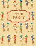 Invito divertente del partito della spiaggia - annata del fumetto Immagini Stock