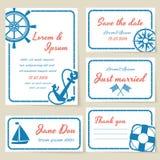 Invito e carte nautici di nozze di stile Fotografie Stock