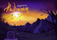 Invito felice del manifesto di giorno di Halloween, illustrazione di vettore del fondo dell'estratto di storia di orrore di conce illustrazione vettoriale