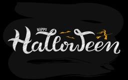 Invito felice del partito di Halloween di vettore La mano ha schizzato l'iscrizione, fondo strutturato immagini stock