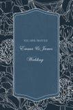 Invito floreale di nozze La peonia blu scuro incisa annata fiorisce la cartolina d'auguri illustrazione vettoriale