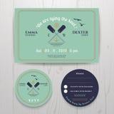 Invito gemellato nautico di nozze della pagaia ed insieme del modello della carta di RSVP Royalty Illustrazione gratis
