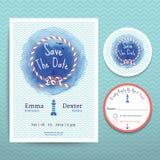 Invito nautico di nozze di colore di acqua della corda ed insieme del modello della carta di RSVP Royalty Illustrazione gratis