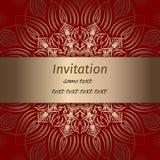Invito nei colori dell'oro e di rosso illustrazione di stock