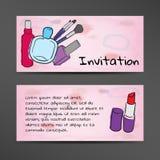 Invito nello stile dell'acquerello con l'immagine dei cosmetici Fotografia Stock Libera da Diritti
