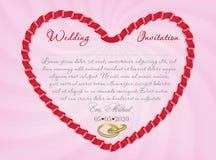 Invito o carta di nozze con la forma del nastro di cuore Immagine di vettore Fotografie Stock
