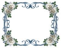 Invito o scheda di cerimonia nuziale con le rose bianche Fotografia Stock Libera da Diritti