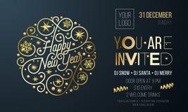 Invito per il partito del nuovo anno della decorazione dorata per la carta di evento di festa o il modello di progettazione del m illustrazione di stock