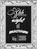 Invito per la notte in un museo nel telaio per un'immagine Fotografia Stock