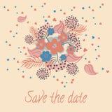 Invito per nozze con i fiori Illustrazione Vettoriale