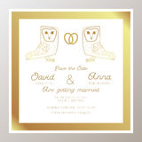 Invito romantico di nozze con gli anelli di oro, gufi illustrazione di stock