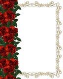 Invito rosso di cerimonia nuziale del bordo delle rose Immagine Stock Libera da Diritti