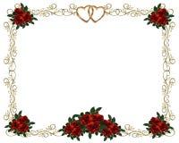 Invito rosso di cerimonia nuziale del bordo delle rose Fotografie Stock