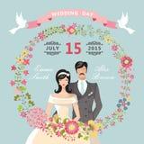 Invito sveglio di cerimonia nuziale Corona floreale, sposa del fumetto, sposo Immagine Stock Libera da Diritti