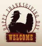 Invito tradizionale della siluetta della Turchia di ringraziamento, illustrazione di vettore Fotografia Stock