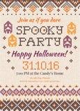 Invito tricottato fatto a mano w del partito di Halloween del modello del fondo Fotografia Stock Libera da Diritti