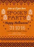 Invito tricottato fatto a mano w del partito di Halloween del modello del fondo Immagine Stock