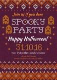 Invito tricottato fatto a mano w del partito di Halloween del modello del fondo Fotografia Stock