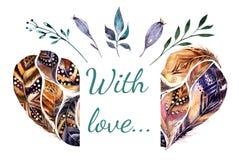 Invito vibrante delle pitture disegnate a mano dell'acquerello Lo stile di Boho mette le piume al manifesto di forma del cuore Il Immagine Stock
