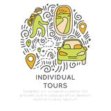 Invividual tours hand draw cartoon vector icon concept. Icon about individual travel, porthole, airplane, car, hikking Stock Photography