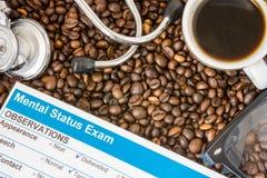 Invloed van koffie of cafeïne op menings geestelijke functies, geestelijke capaciteiten, kennis Resultaat van geestelijk onderzoe royalty-vrije stock foto