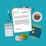 Invoice accounting illustration. Desk top view with calculator, papers and eyeglasses Royalty Free Stock Photo