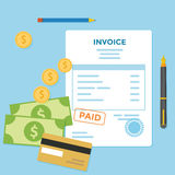Invoice Bill. Invoice paper bill with money and credit card Royalty Free Stock Photography
