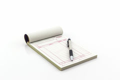 Invoice book which open blank page with pen. Royalty Free Stock Photo