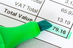 Invoice with close up of total Stock Photos