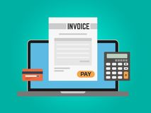 Invoice computer concept. Online payment using laptop. Calculator and credit card on green background. Paying taxes. Online. Digital banking. Vector stock illustration