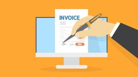 Invoice concept illustration. Invoice concept. Hand signs a document. Financial document containing bill. Payment terms. Flat vector illustration Stock Photos