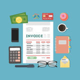 Invoice concept illustration. Invoice documents with calculator, mpney and cards Royalty Free Stock Image