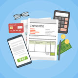 Invoice concept illustration. Invoice documents with calculator, mpney and cards Royalty Free Stock Images