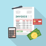 Invoice concept illustration. Paper with calculator, credit card and money Stock Photos