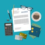 Invoice desk top. Invoice desk top view with documents, calculator and coffee Royalty Free Stock Photos