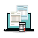 Invoice document and laptop design. Invoice document calculator and laptop icon. Business finanace payment and tax theme. Colorful design. Vector illustration Royalty Free Stock Images