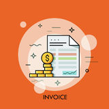 Invoice and dollar coins. Budget planning, money saving, paying debt concept. Invoice and dollar coins. Budget planning, money saving and paying debt concept Royalty Free Stock Images