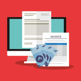 Invoice economy related icons image Stock Photography