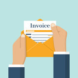 Invoice envelope in hand. Businessman holding in hand invoice in envelope. Flat design, abstract vector illustration. Checking Invoice. The official document is Royalty Free Stock Photo
