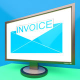 Invoice In Envelope On Monitor Showing Due Payments Stock Image